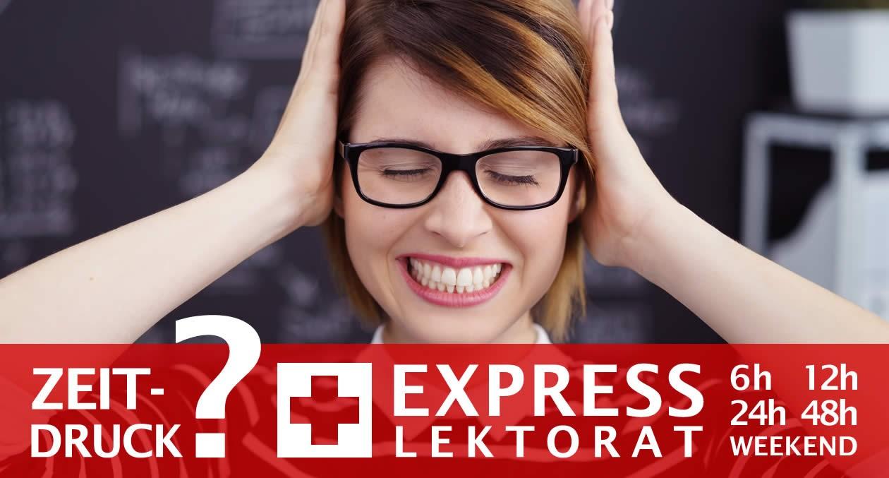 Express-Lektorat-Service für eine Masterarbeit, Masterthesis schnell im Express lektorieren lassen. Express-Lektorat für Masterarbeiten in Word, OpenOffice, PDF, LaTex, in 6h, 12h, 24h, über Feiertage, über das Wochenende. Muttersprachler Lektoren.